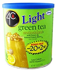 4C Light Powdered Ice Tea Mix with Splenda 13.9oz - Makes 22 Quarts - Choice of 4 Flavors (Green Ice Tea)