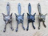 Ironmongery World hierro fundido aldaba, diseño con cabeza de zorro Vintage Retro Estilo Rústico (latón envejecido)