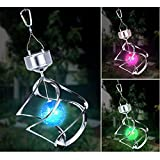 Colour Changing Wind Spinner Solar Light Saturn Lantern Powered Color LED Outdoor Hanging Garden Chime Light Decorate Lamp