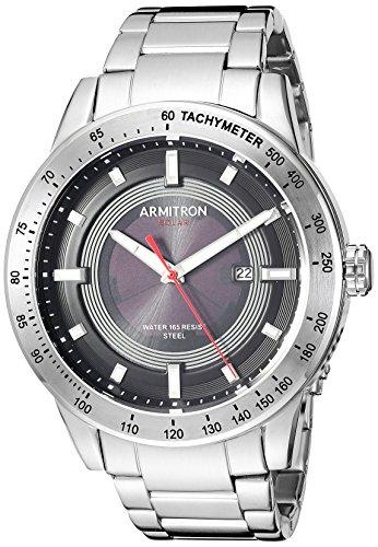 Armitron Men's Quartz Stainless Steel Dress Watch, Color:Silver-Toned (Model: 20/5288BKSV)