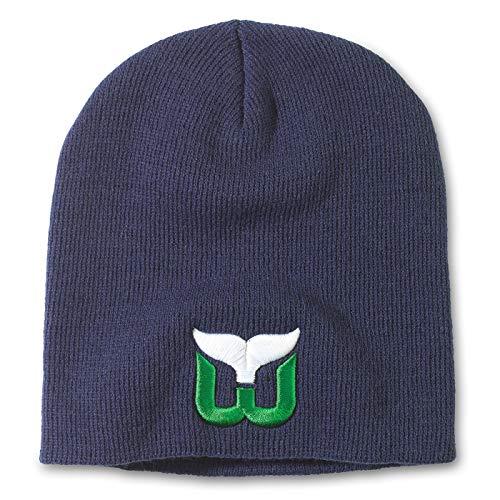 American Needle NHL Team Logo Basic Cuffless Beanie Strickmütze, Herren, Hartford Whalers-Navy, One Size Fits Most