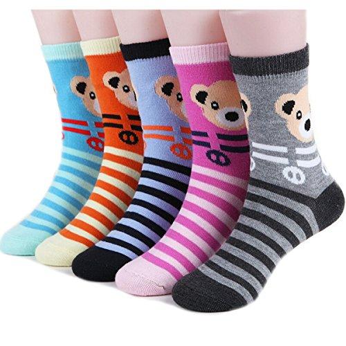 Nanxson(TM) Lot De 5 Paires De Chaussettes En Coton Motif D'ours Animé Pour Enfants Bébés WZETWB0043