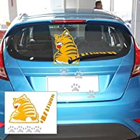 AKORD Yellow Cat Pet w/wagging tail Paw Car Rear Windshield Window Wiper Sticker Decal Funny Lion Tiger