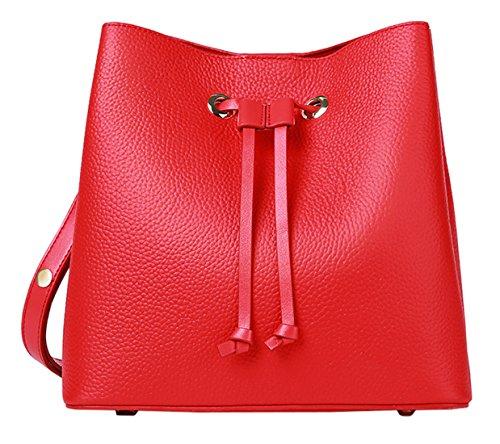 SAIERLONG Nuovo Donna Rosso Primo Strato Di Cuoio Borse Tracolle Rosso