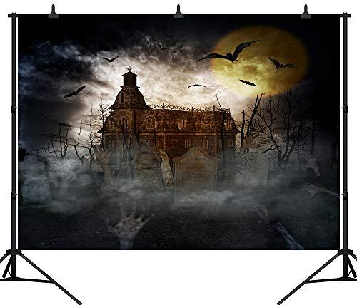 GzHQ PGT147B Fotohintergrund, 270 x 180 cm, Motiv: Geisterschloss, Halloween-Party, personalisierbar, nahtlos, Vinyl (Schwarzes Vinyl Halloween-motive)