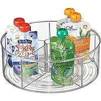 mDesign - Organizador giratorio para guardería; guarda raciones de alimento para el bebé, fórmula, frascos - Claro
