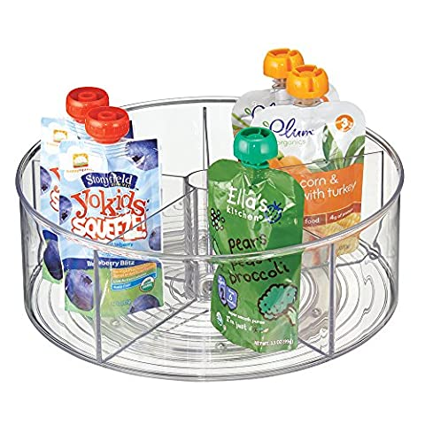mDesign Lazy Susan for Baby Food Storage - 5 Compartment Multi-Purpose Storage Container - BPA-Free Plastic - Clear
