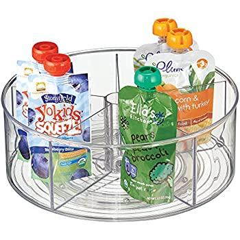 mdesign lazy susan for baby food storage 5 compartment storage container bpafree plastic clear
