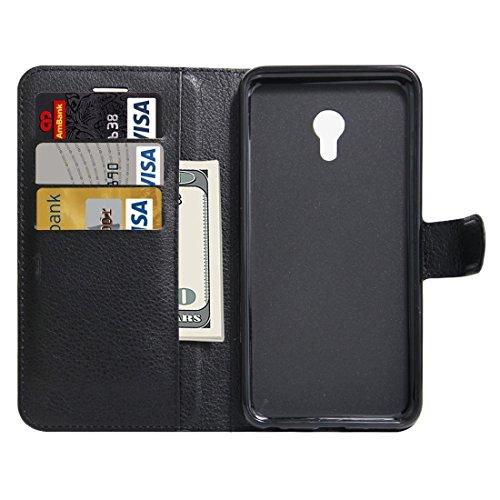 Meizu M5 / Meilan 5 Litchi Textur Horizontale Flip Leder Ständer Brieftasche Case mit Halter & Card Slots & Wallet by diebelleu ( Color : Green ) Black
