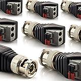 zanasta [8 Stück] BNC Stecker Terminalblock Connector zu 2 Pol Adapter, Kabel Verbinder mit Tastenklemme Schwarz-Grau