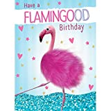 Tracks Publishing Riesen Grußkarte Frauen Geburtstag Karte Punky Haar Flamingo A4