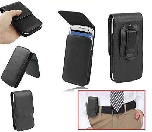 DFV mobile - Leather flip belt clip case holster vertical > alcatel ot 282 , color funda negro