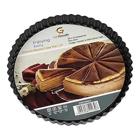 Get Goods ronds Moules à tarte–13cm/20cm/28cm de diamètre–en acier carbone antiadhésif–cannelée Edge/Base amovible 20cm Flan Tin