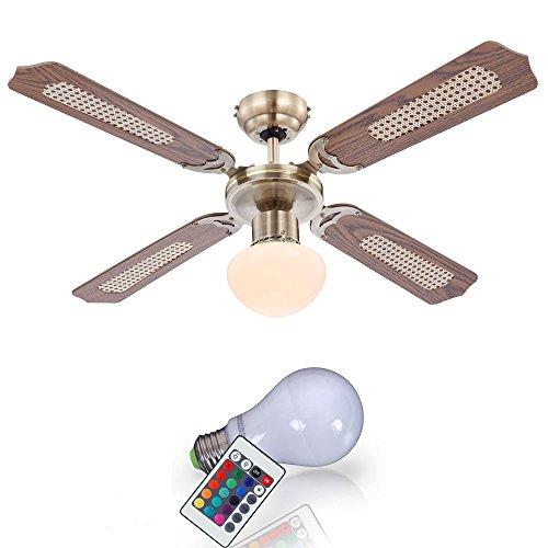 Retro Decken Ventilator Zugschalter Farbwechsel Lampe Raum Kühler im Set inkl. RGB LED Leuchtmittel (Retro-ventilator)