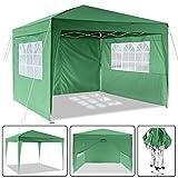 3x3 M Gazebo da Giardino Impermeabile Pieghevole Tendone Giardino con 3 Laterali - Antipioggia - Resistente ai Raggi UV (Verde-)