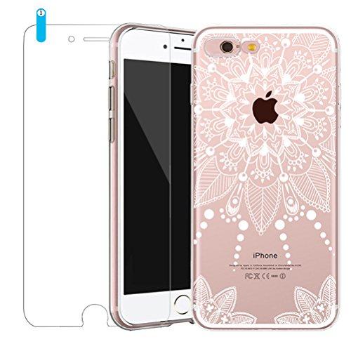 Bestsky iPhone 7 Hülle mit Panzerglas, iPhone 8 Hülle Transparent Silikon Weiß Henna Mandala Muster Cover Case Durchsichtig Handy Tasche Schutzhülle für Apple iPhone 7/8 (4.7 Zoll) (Apple-muster)