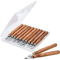 ASIV 12 Piezas Cinceles para Madera hechos de acero carbón de SK2 - Escultura de cinceles, cuchillo de trinchar hecho a mano para DIY mango de madera de herramientas Wax Carving