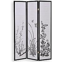IDIMEX Paravent, Spanische Wand, Raumteiler, Trennwand, Sichtschutz schwarz mit Blumenmotiv