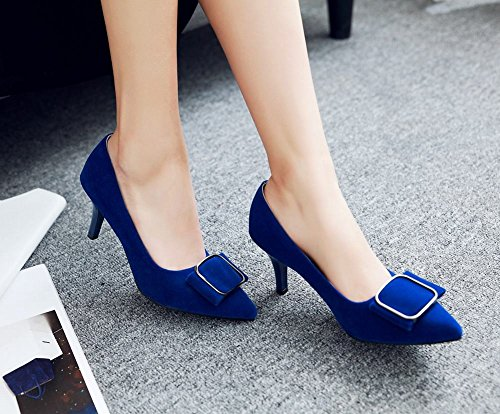 Mee Shoes Damen elegant high heels ohne Verschluss Pumps Blau