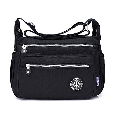 Nylon Schultertasche Damen Wasserdicht Casual Tasche Reisetasche Damen Rucksack,Blue-OneSize Laidaye