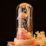 Telihome Flor eterna con luz led Gran decoración para Bodas Flamingo...