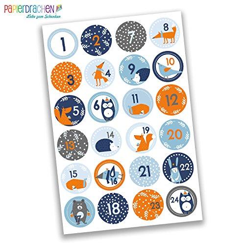 Numeri Per Calendario Avvento.Papierdrachen 24 Adesivi Con Numeri Per Il Calendario Dell