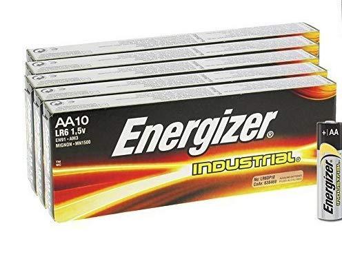 Energizer + iSOUL 50 x Energizer LR6 AA Industrie EN91 Größe MN1500 Strom Seal Batterie 1,5 V Alkaline Everyday General Purpose Langlebig Original Industriebatterien (Taschenlampe Value Pack)
