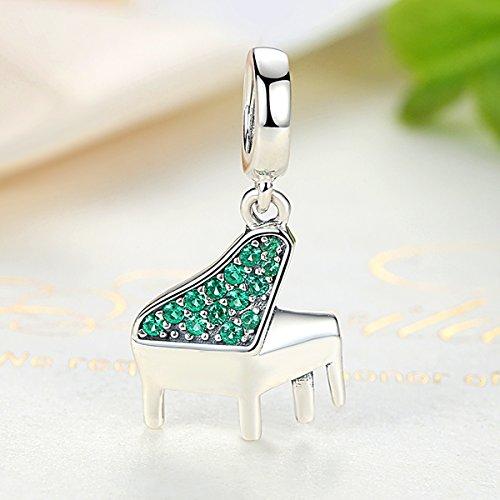 Everbling Charm Piano Lover grün cz baumeln 925Sterling Silber Bead für Pandora Charm Armband - 3