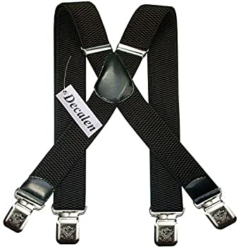 Mens braces wide adjustable and elastic suspenders X shape with a very strong clips Heavy duty (Dark Brown)