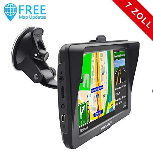 AWESAFE Auto Navigation GPS 7 Zoll Touchscreen Navigationsgerät Navigationsystem für LKW PKW, vorinstallierte 52 Ländern von Europa, Lebenslang Kostenlose Karten-Updates