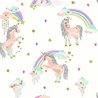 Arthouse, Rainbow Unicorn White Wallcovering