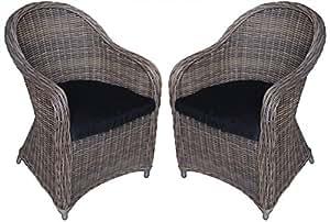 KMH®, 2er Set Polyrattan Gartensessel inklusive Sitzkissen (Natur - Look) (#106007)