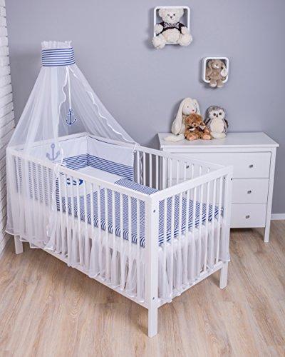 Amilian Baby Bettwäsche 5tlg Bettset mit Nestchen Kinderbettwäsche Himmel 100x135cm Anker groß...