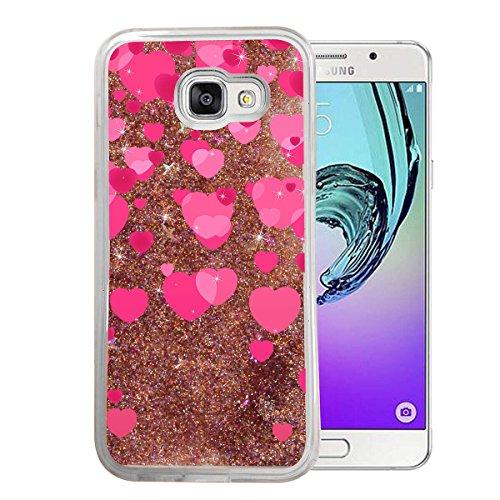 Finoo Samsung Galaxy A3 2017 Flüssige Liquid Rose Goldene Glitzer Bling Bling Handyhülle Motiv - Rundum Silikon Schutzhülle + Muster - Weicher TPU Bumper Case Cover - Herz-Regen