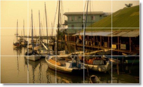 BARCO NAVE FOTO MURAL AZULEJO B014  24X 40CM CON (15) 8X 8AZULEJOS DE CERAMICA