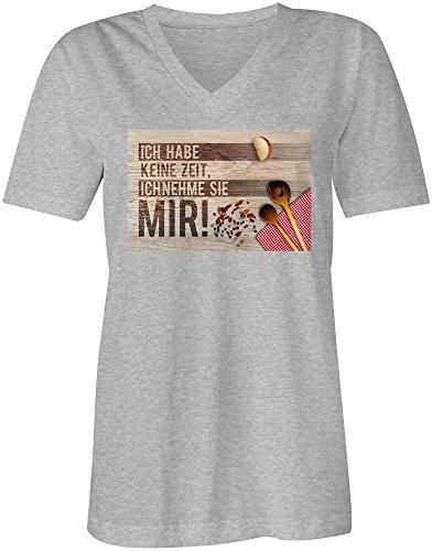 Ich Habe Keine Zeit Ich Nehme Sie Mir 3 ★ V-Neck T-Shirt Frauen-Damen ★ hochwertig bedruckt mit lustigem Spruch ★ Die perfekte Geschenk-Idee (05) grau-meliert