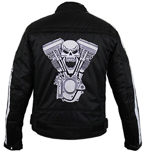 Herren Motorradjacke Motorrad Textil Jacke Biker Schwarz (3XL)