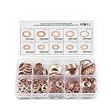 ONEVER 200pcs de cobre s¨lido arandela plana del anillo de sello de aceite del c¨Ârter del enchufe Surtido Box Set