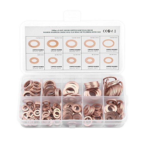 HermosaUKnight 200 St¨¹cke Solid Copper Washer Flachen Ring ?lwanne Stecker Dichtring Assorted Set Box Kupfer Farbe