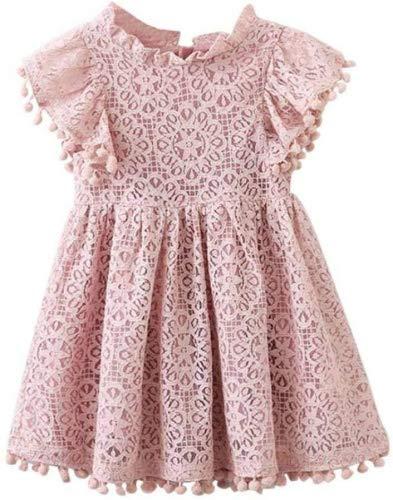 squarex Mädchen-Kleid mit Blumenmuster und Spitze, Prinzessinnen-Kleid, Kinder, Rose, 3-4 Jahre