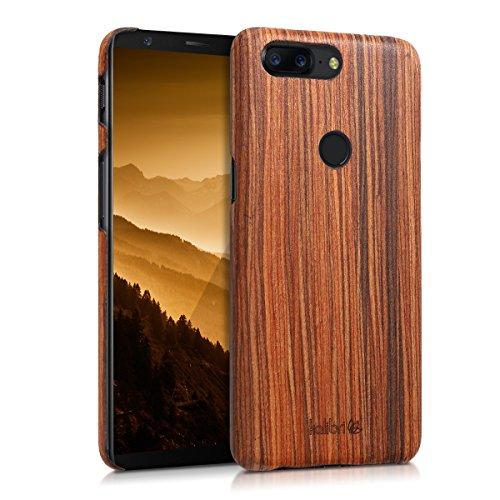 kalibri-Holz-Case-Hlle-fr-Oneplus-5T-Handy-Cover-Schutzhlle-aus-Echt-Holz-und-Kunststoff-Mix-Lindenholz-in-Braun