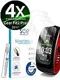 smart engineered Schutzfolie kompatibel mit Samsung Gear Fit 2 Pro [4 Stück] Premium Schutz volle Abdeckung [Made in Germany] blasenfreie Aufbringung [HD-Klar] Wasser/schmutzabweisend [kein Ablösen]