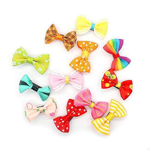 Unbekannt Nette Süßigkeit-Farben-Punkt-Blumen-Druck-Band-Bogen-Haarnadel-Haarspangen für Baby-Kind-Kind-Mädchen, 10pcs, Mischfarbe -