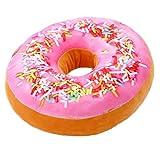 WEDPLA Plüsch 3D Donut Kissen Dekokissen Stuhlkissen Sitzkissen Handwärmer Rund Geburtstagsgeschenk (Himbeere)