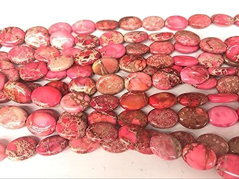 thetastejewelry 12x 16mm Oval Red Sea Sediment Jasper Perlen 38,1cm 38cm Halskette Heilung Schmuck herstellen–4527