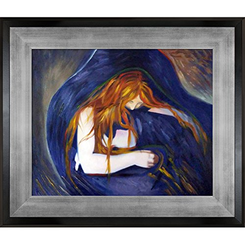 1895 Öl (overstockart Vampire, 1895von Edvard Munch handbemalt Öl mit Silber und Schwarz King Combo Frames)