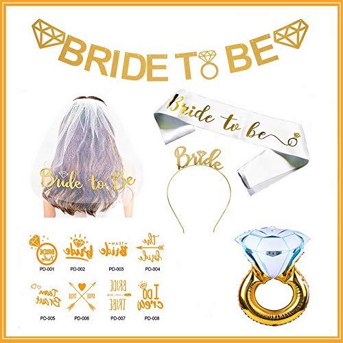 JeVenis Bachelorette Party Dekorationen - Braut Schärpe und Schleier Kit - Bachelorette Party Gefälligkeiten, Braut Banner Sein