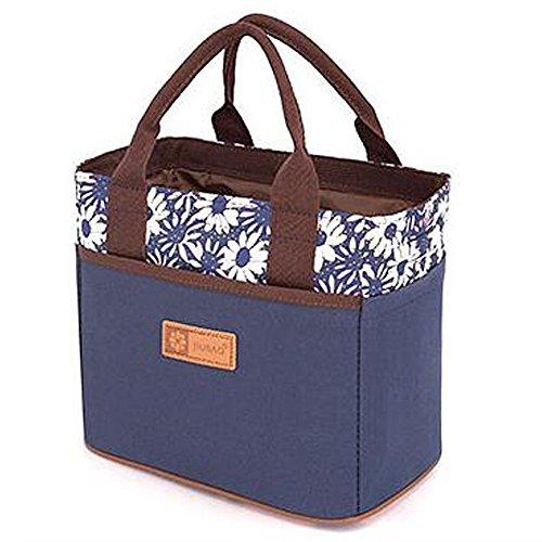 Canvas Bento pranzo Borsa per Picnic Ufficio Scuola Tote pranzo Borsa con cintura in corda alla moda (striscia marrone) Fiore Blu