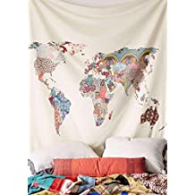 floral tapisserie carte du monde dcoration murale tte de lit couvre lit tapisserie de dortoir - Maison Du Monde Tete De Lit