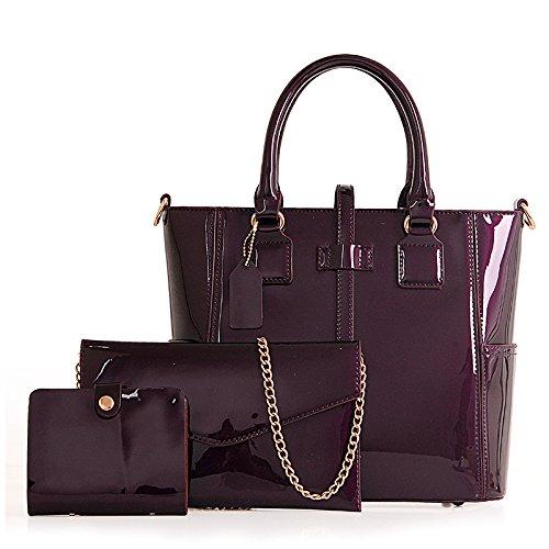 Meoaeo Tutti-Match Fashion Ladies Handbag Black Violet